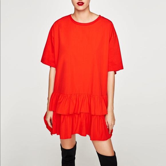 9917e9ca Zara Tops | Ruffle Oversized Tshirt Dress | Poshmark